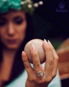 Incredibly beautiful photo of @faerieblessings in her glory rocking a crystal sphere and orgone point ring I sent her way ⚡️ she is magical!