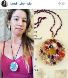 @PinealVision Displays her Orgone Medallion she won from a BK Giveaway.