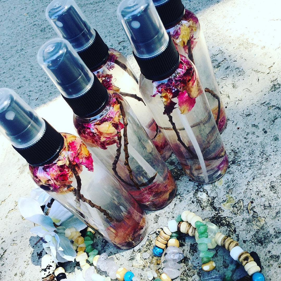 Signature Rose Quartz infused #toner tincturing with fresh rose petals and foraged witch hazel twigs ⚡️