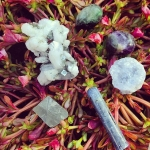 """🌊Third and final Saturday🔮 auction as promised - I hope you love the other sets this is so fun for me! ❤️Ok this bundle is just special rocks- I feel cooling and calming as well as focused energy from these pieces. This bundle includes: 🔮 1 #Zeolite Specimen 2"""" 🔮 1 Polished #Kyanite Wand 2"""" 🔮 2 AAA Rainbow Tumbled #Fluorites 🔮 1 Celestite #Druzy #Specimen 🔮 1 Large Fluorite #Tetrahedron ✨Bundle retails for over $75 and bidding opens at $28. 🌊To Bid🌊 -Comment with your bid -Tag who you are outbidding -Whole Dollars Please, Winnee Pays 6.00 s/h USA and rated for zip code internationally. Ends tomorrow with other auctions at 9pm EST️. #goodluck #parcel #crystals #minerals #gemstones #bethkayaauctions"""