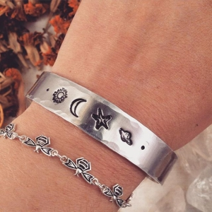I love you more than the sun, the moon, the stars and the heavens 🌞🌙⭐️🌌 ☺️ Unique Cuffs and Rings in Non Tarnish Hypoallergenic Aluminum 😃 {BethKaya/Etsy} #art #design #metalsmith #joy #spiritstyle