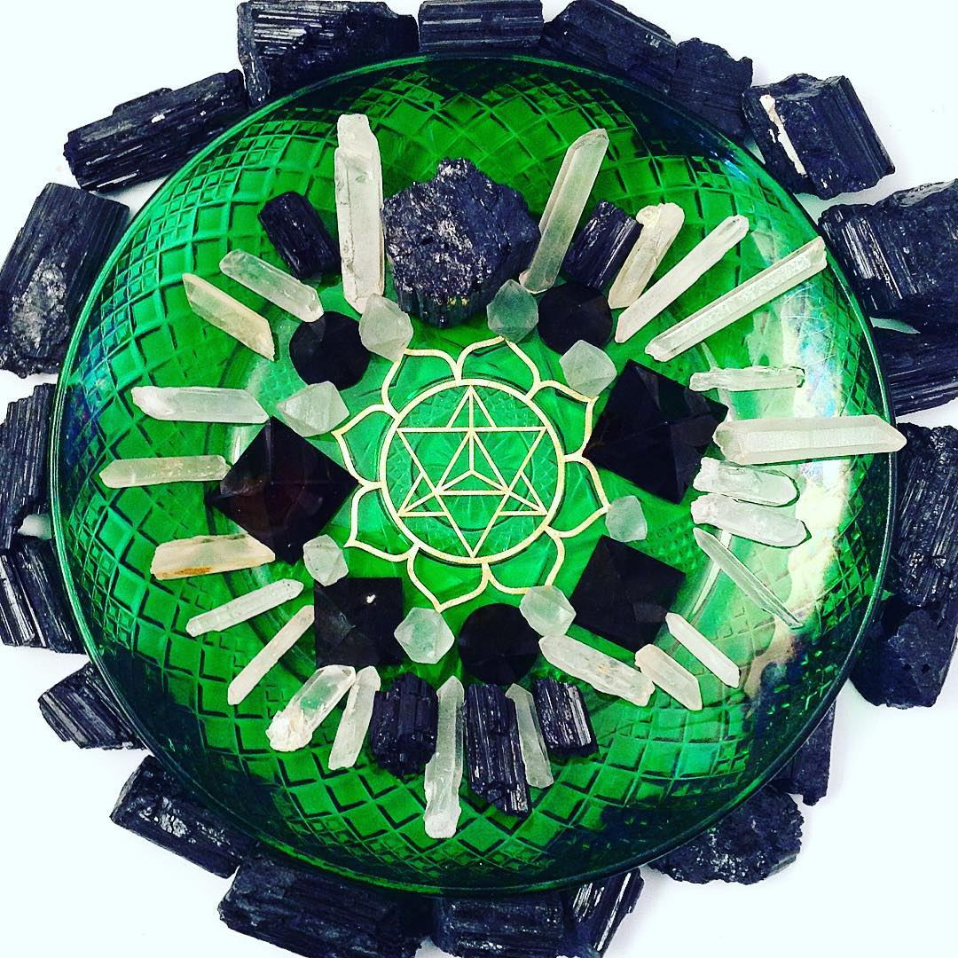 #blissedout #protected #blacktourmaline #merkaba #lotus #sacredgeometry #mandala #crystalgrid