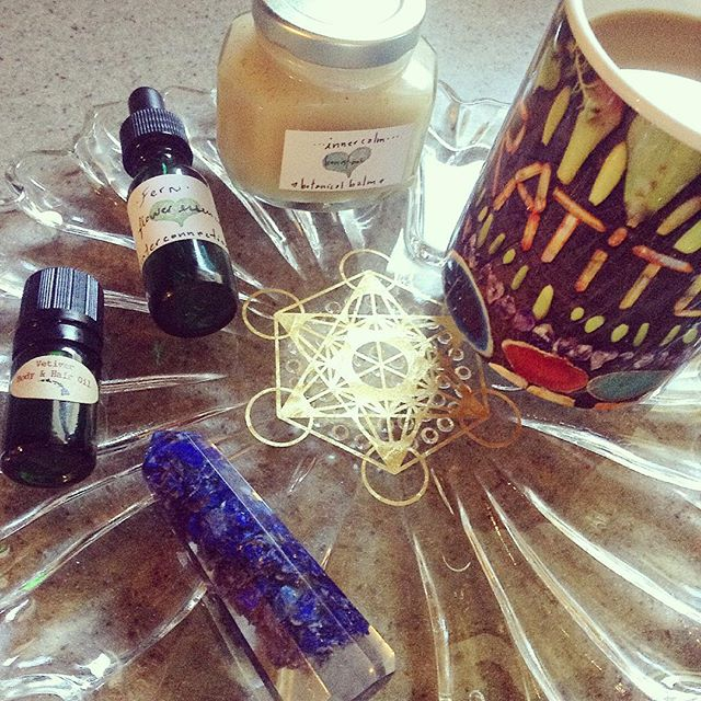 VETIVER FARMS HAWAII OIL, HONEST OWL FLOWER ESSENCE AND INNER CALM BALM, GRATITUTE MUG BY WINGOSTARR JEWELRY CRYSTAL GRID PLATE BY BETHKAYA & SACRED STATE DESIGN