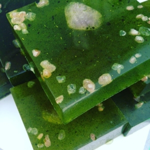 First batch of #moringa soap done! Beautiful with a healing amethyst in each ?