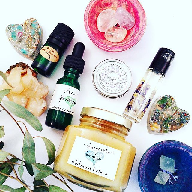 Vitality Arsenal - Essential Oil Blend By Vetiver Farms Hawaii, Stones by Wingostarr Jewelry , Gem Roll On Perfume & Orgone By BethKaya, Flower Tincture and Balm by Honest Owl Herbal, Bowls By Intralove Art